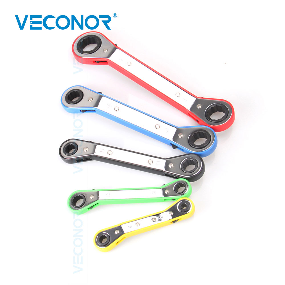 5 piezas de Llave de trinquete de desplazamiento conjunto de llaves métricas 2 vías Reversible garaje taller herramienta conjunto de MANGO de Color