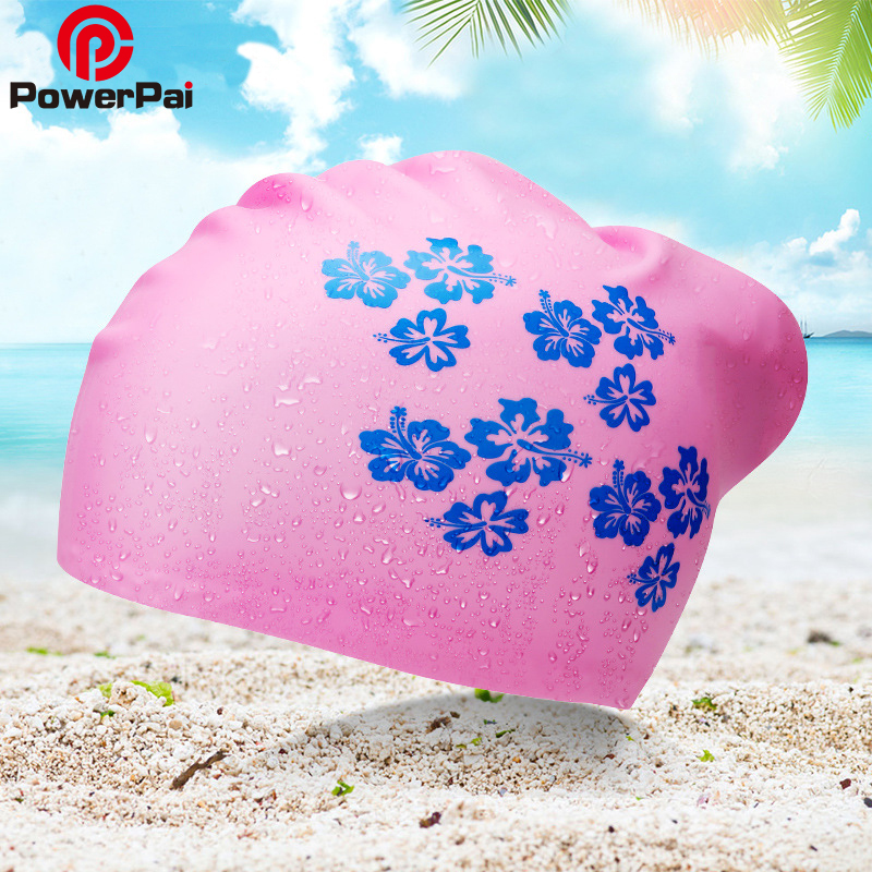 PowerPai 2018 Women Swimming Cap for Long Hair Waterproof 100% Silicone Protect Ears Swim Caps Ladies Diving Hood hat for girls ai lianxin long hair surgical cap for long hair doctors and nurses 100% cotton bouffant caps