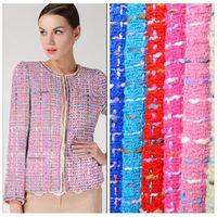 Fashion Multiple Color Tweed Fabric For Dress Overcoat Tecidos Para Roupa Sew cloth tissu au meter tissus tela DIY patchwork