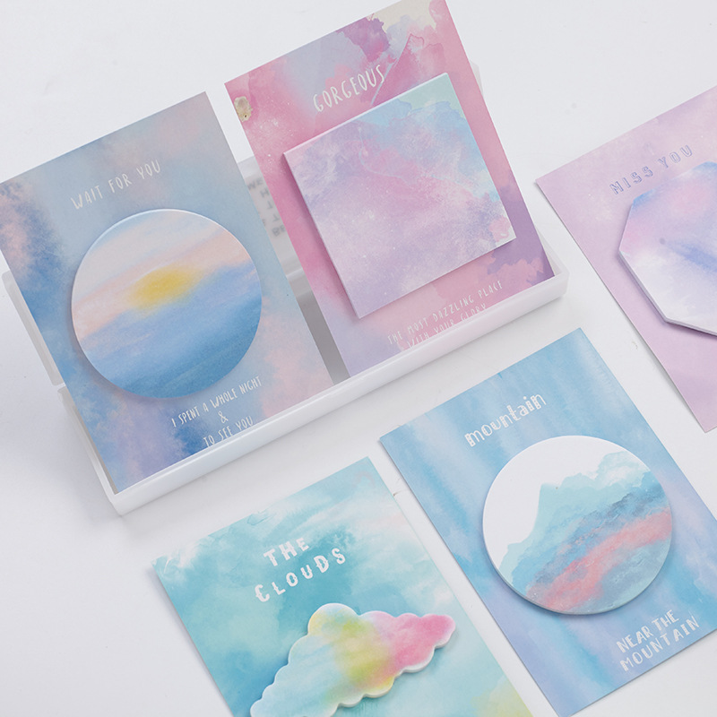 30Pcs/Pack The Cloud Watercolor gradient Color geometry Notes Post it N Times Sticky Memo Pad Stationery Office Supplies M0398