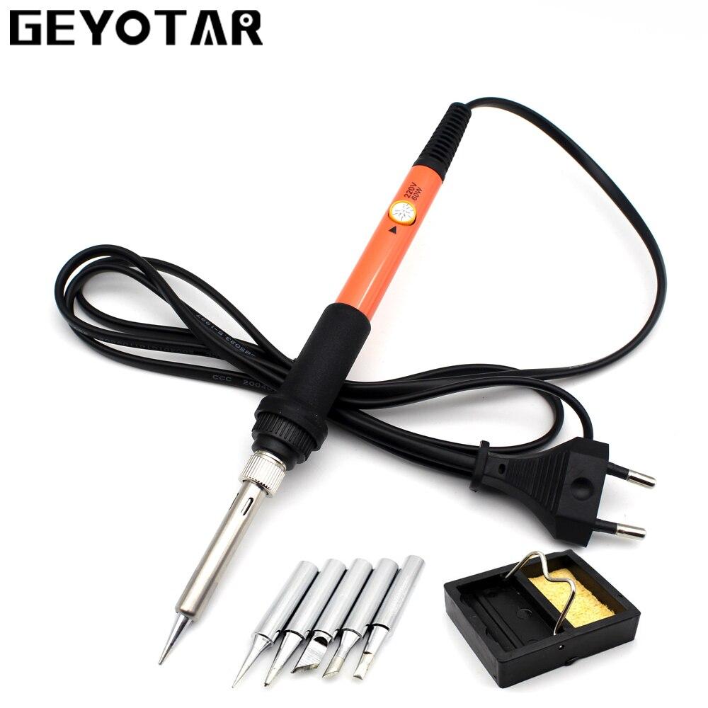220V 60W Electrical Soldering Iron Hand Welding Rework Repair Tool Adjustable Temperature Soldering Gun 5pcs Solder Tip EU Plug