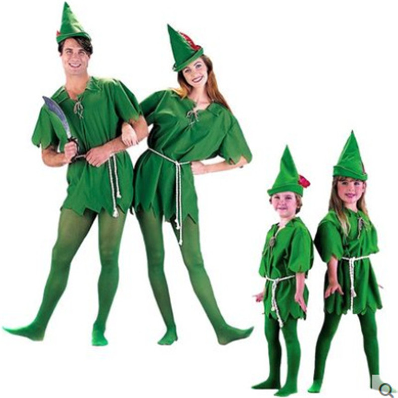 <font><b>2018</b></font> Cosplay Peter Pan Costume Child Kids Cartoon Movie Costume <font><b>Sexy</b></font> Women Girls Boys Peter Pan Costume image