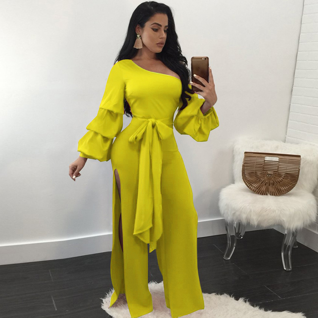 b254d553e676 black white jumpsuit women split sexy off shoulder rompers womens jumpsuit  sashes lantern sleeve summer overalls Body Feminino-in Jumpsuits from  Women s ...