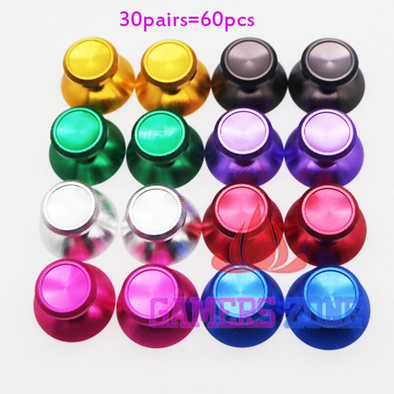 30pairs 60pcs Metal Analog Thumbsticks Thumb stick Joystick Cap Cover For Xbox 360