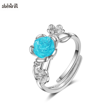 Open Jewelry Blue Rose Rings for Women Adjustable Sliver Color Flower Finger Ring Women Ring Statement Wedding Jewelry Gift 2018