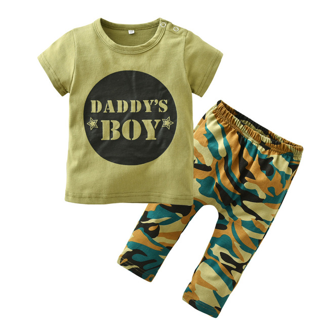 10b1e8533d2 Newborn Baby Boy Clothes Cotton Short sleeve Letter DADDY S BOY T shirt  Tops+Camouflage Pants Toddler Baby Clothing Set