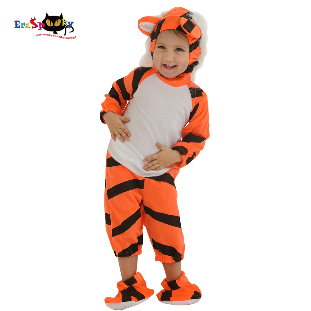 Infant Tiger Costume | Eraspooky Carnival Party Infant Tiger Halloween Costume For Kids Toddler Hoods Animal Jumpsuit New Born Cosplay Baby Boy Outfit