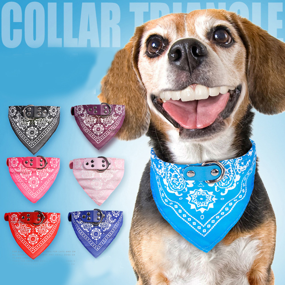 2019 New Pet Dog Supplies Neck Scarf Jacquard Print Adjustable PU leather Neckerchief Scarf Dog Collar For Puppy Pet Dog Bandana