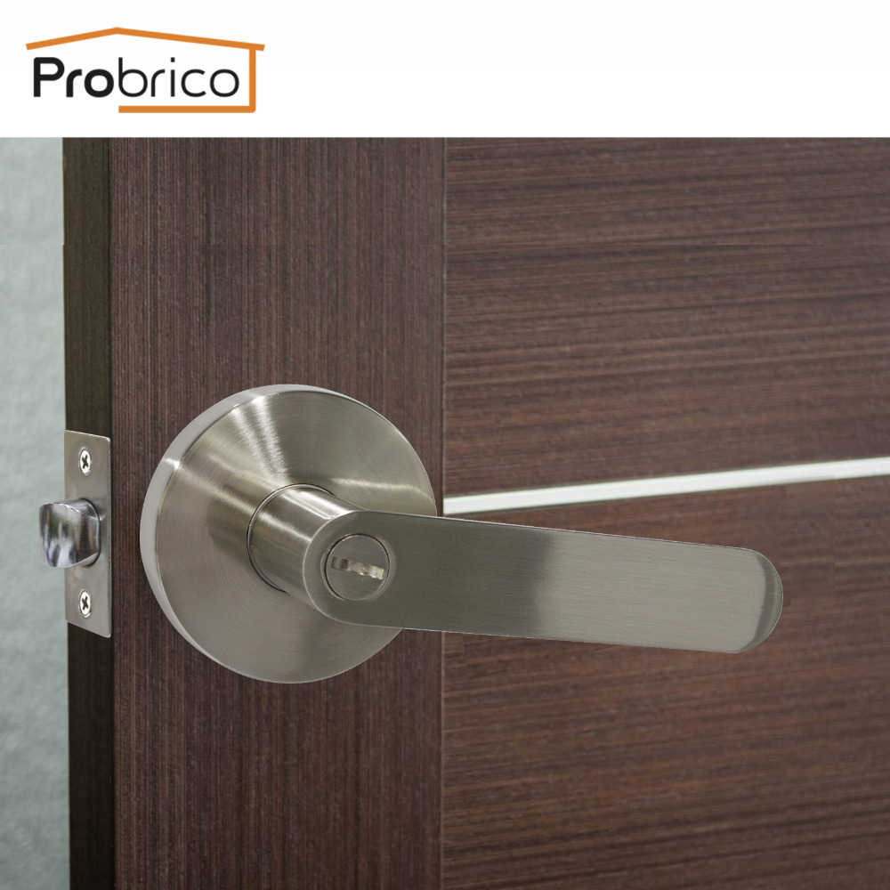 Probrico Keyless Stainless Steel Privacy Interior Door Lever Door Lock Set Black Bathroom Door Handle Bathroom Bedroom Door Knob high quality 3pcs door lever handle locks set interior entry door lock living room bedroom bathroom mortise handle lock