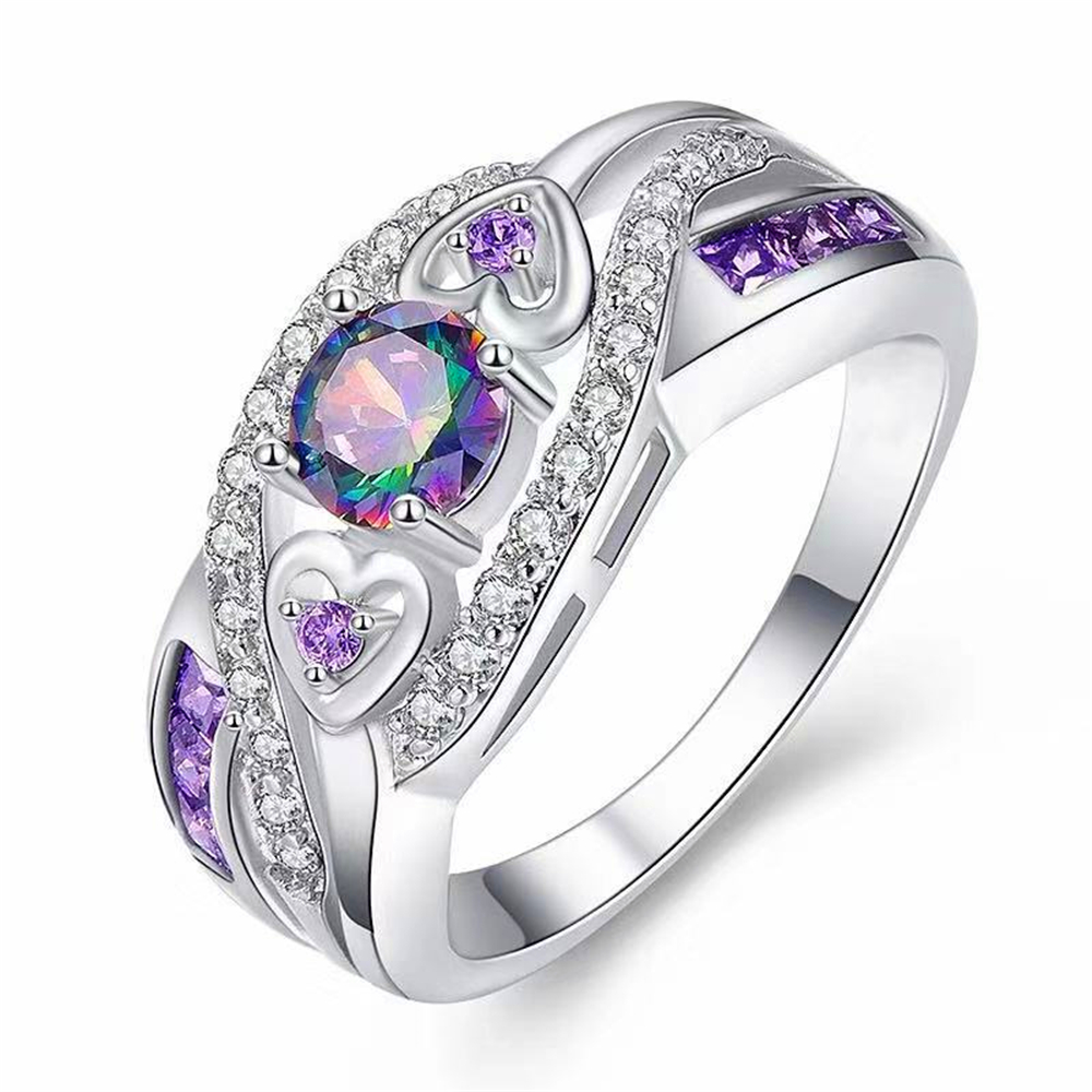 LOREDANA  Fashion Women Wedding Jewelry Oval Heart Design Multicolor & Purple White CZ Silver 925 Ring Size 6 7 8 9(China)