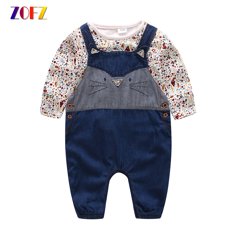 ZOFZ New Baby Clothing 2Pcs/Set Spring Fashion Cotton Girl Floral Print T-shirt and Denim Jumper for bebes Girls Baby Clothes 2pcs children outfit clothes kids baby girl off shoulder cotton ruffled sleeve tops striped t shirt blue denim jeans sunsuit set
