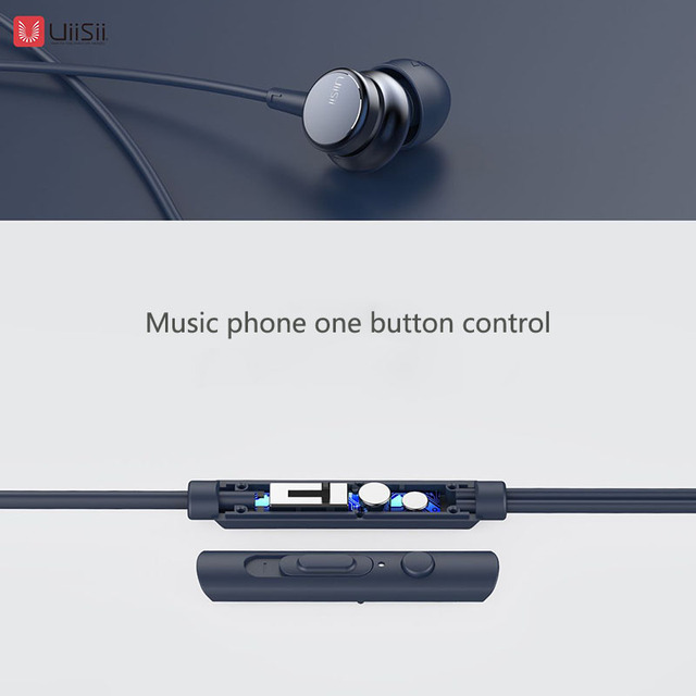 UiiSii HM9 Hot Selling Wired Noise Cancelling Dynamic Heavy Bass Music Metal In-ear with Mic Earphone for iphone Xiaomi Samsung 3