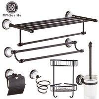 Luxury Bathroom Accessory Set Towel Shelf Bar Toilet Paper Holder Brush Hair Dryer Rack 6pc Set