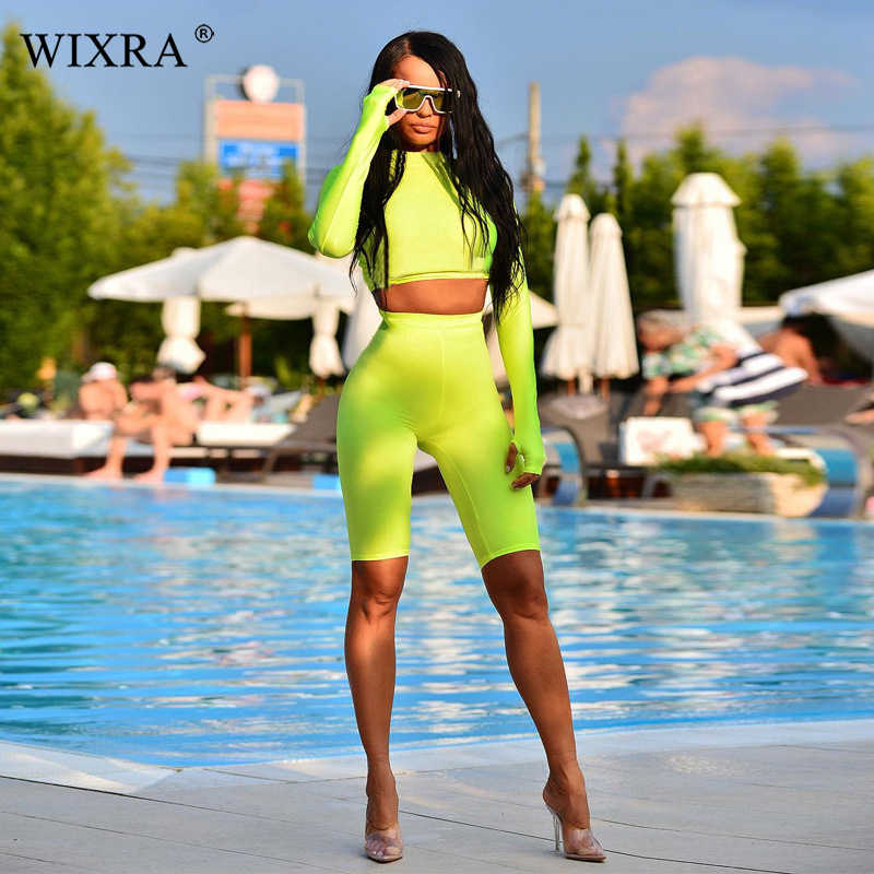 Wixra 2019 新ホット女性のセットファッション女性長袖固体カジュアルタートルネックショートセット婦人服