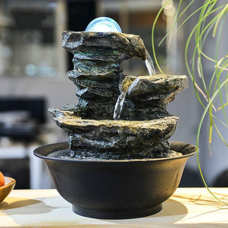 110V 220V Zen Style Rockery Mini Water Fountain LED Crystal Ball Air Humidifier Feng Shui Tabletop Ornaments Lucky Home Decor