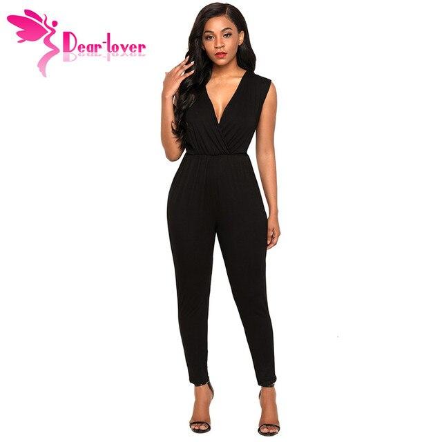 6f86fa8c17f0 Dear Lover Jumpsuit Long Pants 2018 Fashion Summer Women Playsuit Black  Deep V Neck Sleeveless Rompers Combinaison Femme LC64376