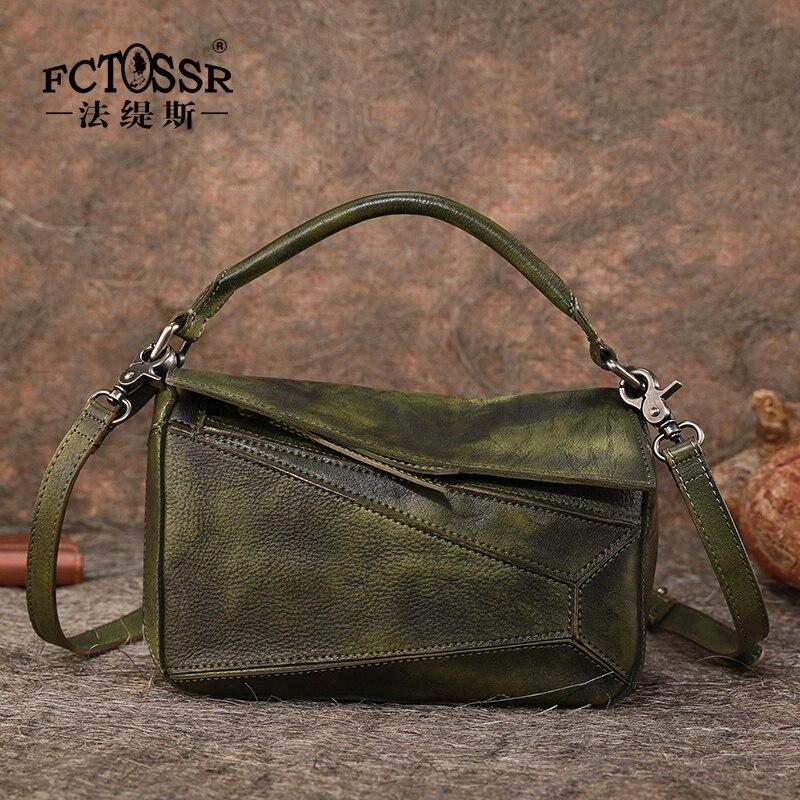 Leather Crossbody Bag Female New Retro Handmade Shoulder Bag Wild Soft Skin Atmosphere Handbag Personality Patchwork