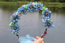 Свадебные цветочные корона волос венок Дыхание Цветок камелии Halo Лесной Парики Природные Свадебный Сельский регулируемая лента венок