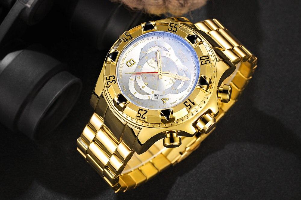 19 Top Brand Luxury Mens Oversize Watch Gold Business Steel Quartz Clock Waterproof Sport Military Chronograph Male Wristwatch 17