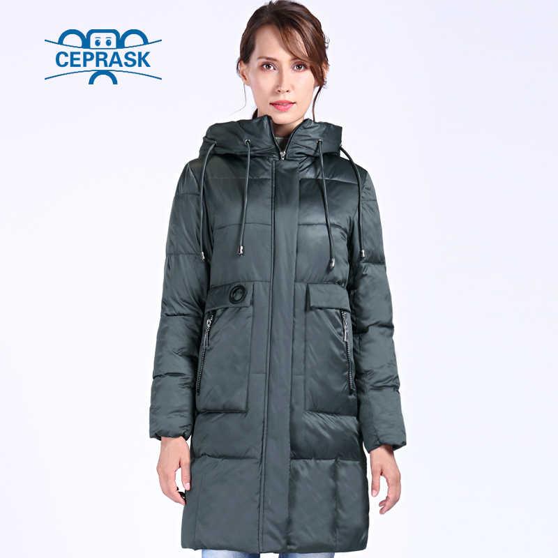 Ceprask 2019 Baru Kualitas Tinggi Jaket Musim Dingin Wanita Plus Ukuran 6XL Panjang Bio Bulu Wanita Jaket Mantel Musim Dingin Berkerudung hangat Jaket