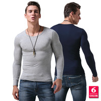 Mens Casual Undershirt Solid Color Brand Clothing For Man S Long Sleeve Slim Long John Male