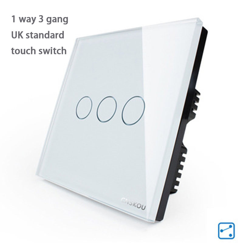 UK Standard Switch, Crystal Glass Panel wall touch Switch,803 white/black/gold Glass free shipping. 3 Gang 1 Way wall Switch