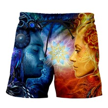YX Girl Harajuku Magic and synchronicity in love Short 3d Printed Casual Shorts for Women Men Summer Beach Jogger Fitness