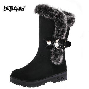 Image 5 - fashion New Ladies non slip Winter Women casual Warm Fur Mid Calf Boots women flat Round Toe Slip On Snow Boots women mujer