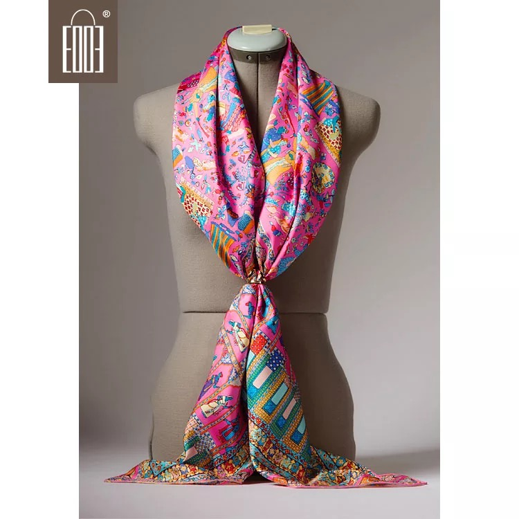 2018 New Arrival Classic Autumn Winter  135*135 Cm Big Scarf 100% Pure Silk Shawl Wrap For Women Lady Free Shipping