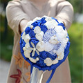 Paris Lover Ivory Blue Hand made Bridal Bouquet Decorative Artificial Rhinestone Bride Bridesmaid With Crystal Wedding Bouquet