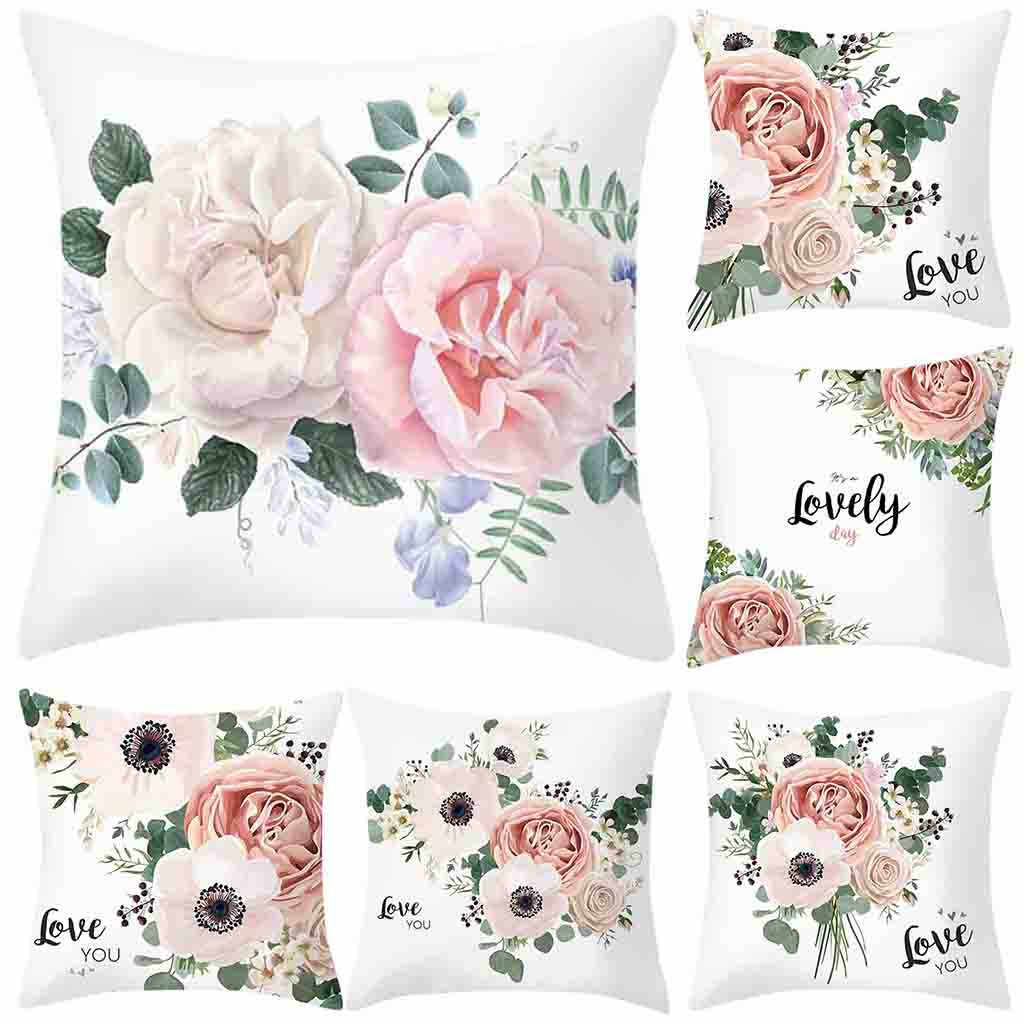 HSU High Quality Square Sofa Pillowcase Cushions 2019 Throw Rose Printed Cushion cozy cogines Flower Home Art cushions para sofa