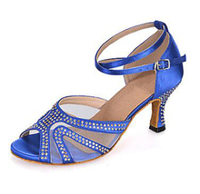 New Ladies Blue Satin Crystal Ballroom Latin Samba Salsa Ceroc Tango Jive Line Dance Heels Shoes