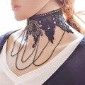 Exagerada Collares de Encaje Negro Grande de La Vendimia Crystal Hollow Cadena Joyería de La Aleación Gargantillas Collar Para El Partido Europeo JQ610