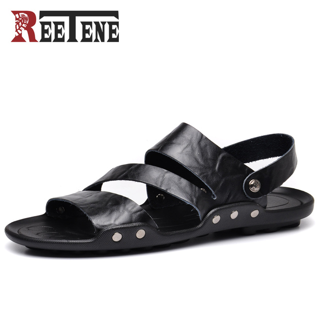a44fcb54524 REETENE 2018 New Men Sandals High Quality Men Leather Sandals Summer Beach  Men Shoes Leather Slippers For Men Fashion Slides