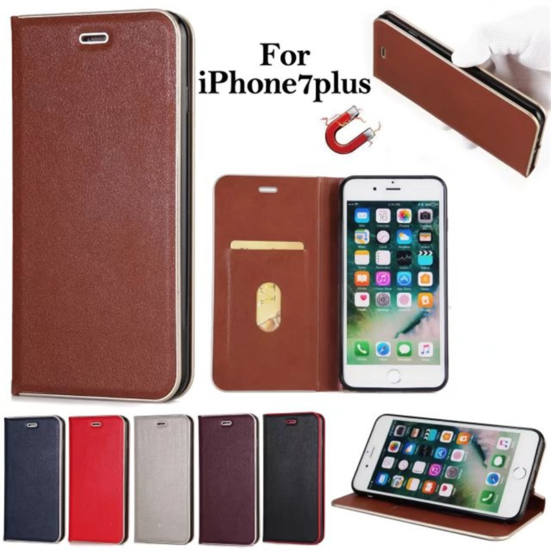 For Apple iPhone 7 Case Metal border Leather & Silicone Flip Cover iPhone 7 Plus Case Wi ...