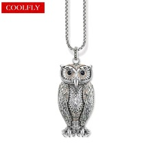 Big Owl Pendant Champagne-coloured Zirconia Link Chain Necklaces Thomas Style Glam Fashion Jewelry For Women Ts Gift Collier
