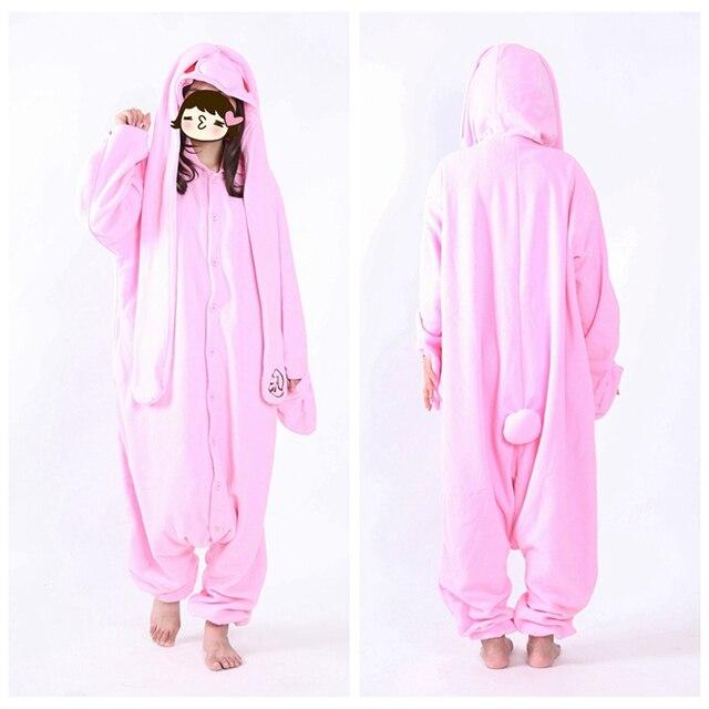 89ea3eea9 Novo Fleece Kawaii Animais Coelho Rosa Coelho Pijama Para Adultos Mulheres  Pijamas Feminino
