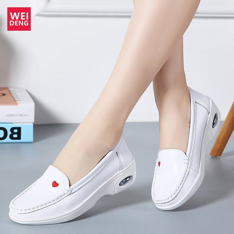 WeiDeng Women Loving Nurse Casual Shoes Genuine Leather Leisure Female Loafers Slip On Soft Light Platform Height Increasing 4cm