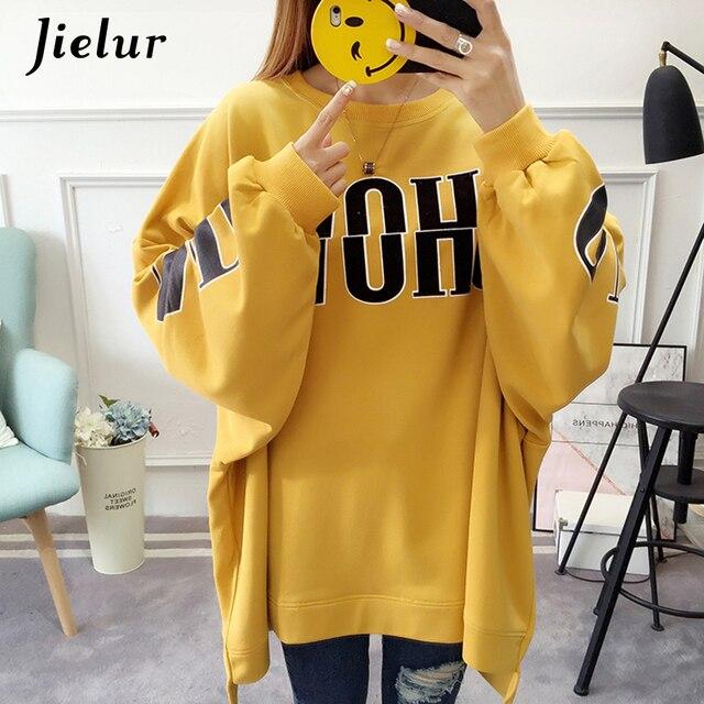 Jielur Thin Autumn Winter Loose Women's Hoodies Hipster Letter Printed Casual Female Sweatshirt Korean Ladies Hoody Hoodie M-XL