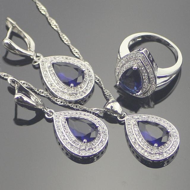 Azul Creado Zafiro Blanco Topaz 925 Plata de La Joyería Para Las Mujeres Astilla Colgante/Collar/Pendientes/Anillos Caja libre