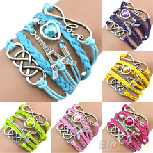Eiffel Tower Cuff Friendship Vintage  Bracelets for women  Multilayer Leather Bangle Chain B02 1KYP