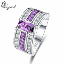 Lingmei Luxury Fashion Noble Purple & White Blue Pink Zircon Silver Ring Size 6 7 8 9 Wedding Band Jewelry Gifts For Women