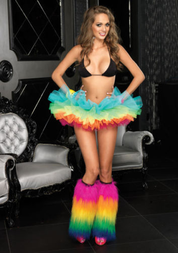 2020 New Women Girls Adult Rainbow Organza Tutu petticoat Club Skirt  Sexy Women Fluff Dance Skirt
