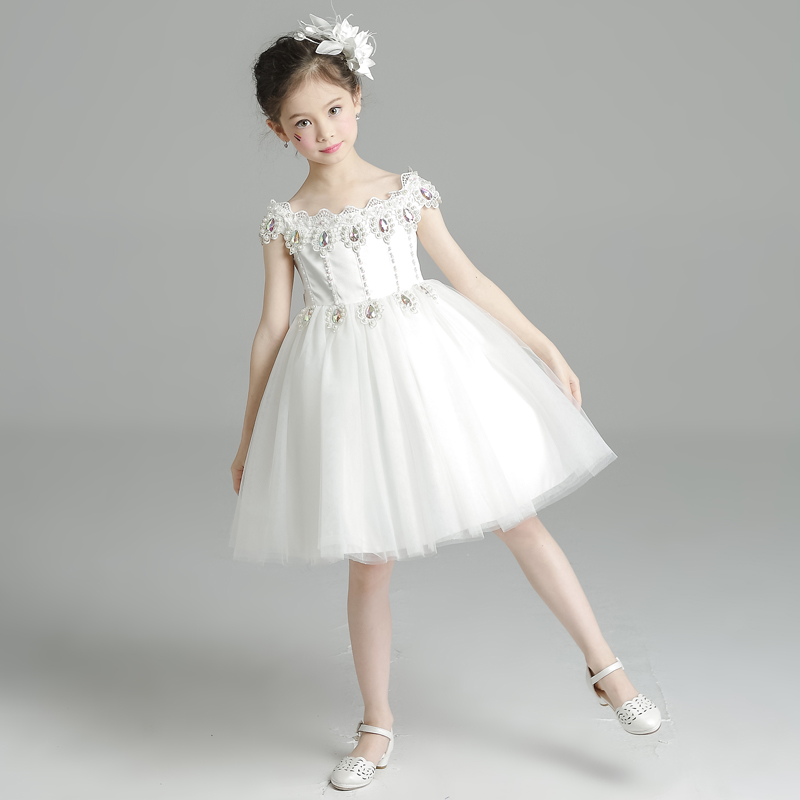 White Ball Gown Lace Princess Girls Dresses Summer Flower Girl Dress for Party Children Clothing New Girls Evening Dress D146 цена