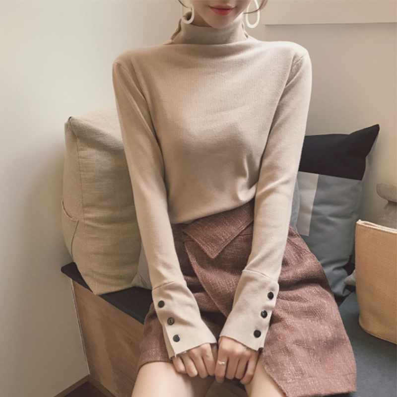 Fashion 2019 New Spring Autumn Women Turtleneck Sweater Knitted Long Sleeve Slim Office Lady Button Casual Sweaters Tops