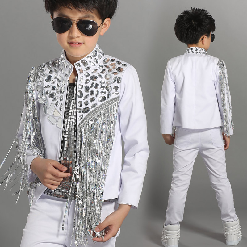 2018 new arrival dance wear kids boys suit stage costume for children Sequins tassel model show jazz dance performance costume одежда на маленьких мальчиков