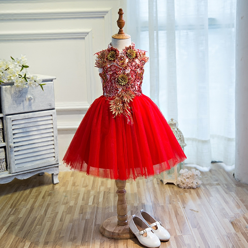 d7f19aa01591 2019Chinese Classical Style Red New Year Birthday Party Princess Dress  Teens Children Beautiful Embroidery Flowers Costume Dress