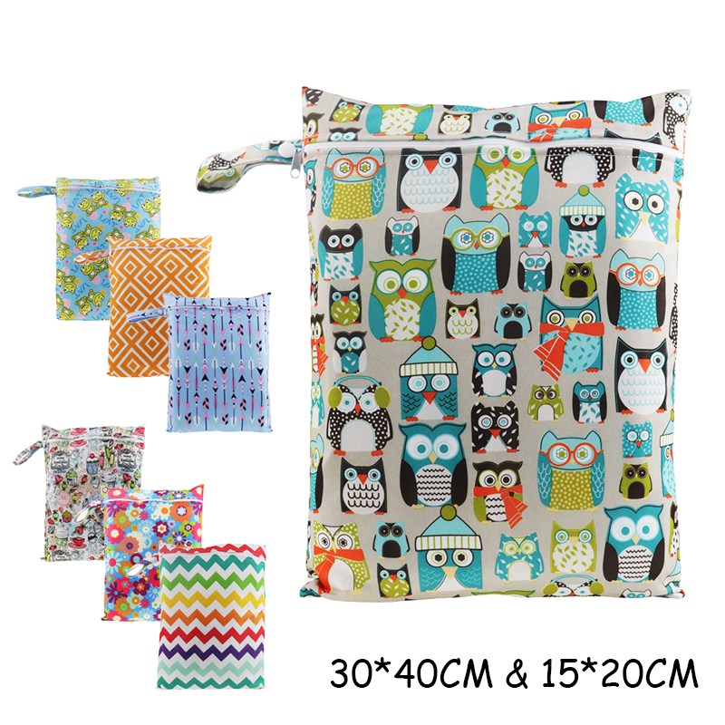 30*40cm & 15*20cm PUL Printed Diaper Waterproof Dry Wet Bag Nappy Bags Pail Liner Laundry Bag For Baby Reusable Cloth Diaper mesh laundry bag