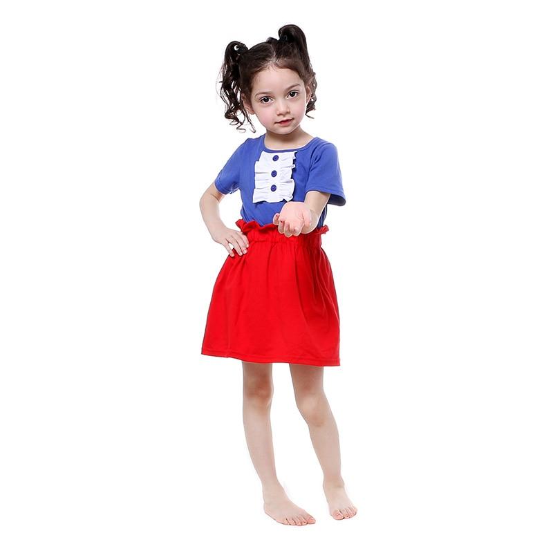 super popular 06523 895ee US $81.13 |Kaiya angel patriottica del bambino di modo delle ragazze  vestiti vestito blu royal rosso bianco Ragazza Abiti Estivi Shirt Skirt 2  Pz 4th ...