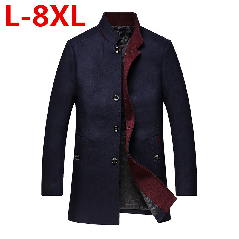 2017 Plus size 8XL 7XL 6XL 5XL 4XLWinter Jakets For Men And Parks stand-up collar mens windbreaker jacket thickened woolen coat ...